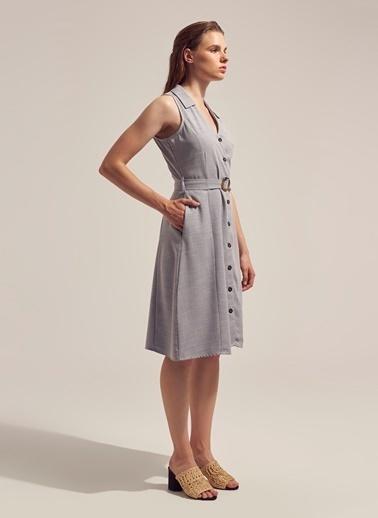 Monamoda Keten Karışımlı Kolsuz Gömlek Elbise Gri